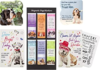 6 Inspirational Dog Magnetic Bookmarks - and 2 Religious Christian Quote Dogs Magnets for Refrigerator, 2 Notebook, Motiva...