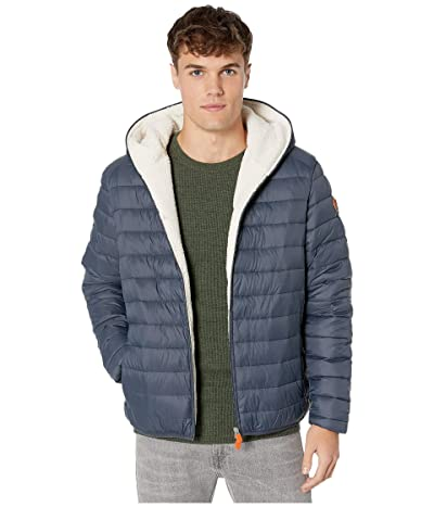 Save the Duck Giga 9 Hoodie Puffer Jacket with Sherpa Lining (Ebony Grey) Men