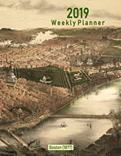 2019 Weekly Planner: Boston (1877): Vintage Panoramic View Cover