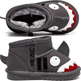 Sponsored Ad - BIG WASP Boys Toddler Cute Shark Snow Boots Slip Resistant Outdoor Winter Shoes for Toddler Kid