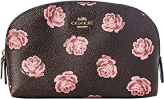 Coach Oxblood Print Leather Cosmetic Case Bag Purple Floral New