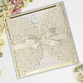 50 Cards Pack Laser Cut Gatefold Gold Square Wedding Invitations with Envelopes Cream Ribbon Elegant Lace Gold Foiled Insert DIY Kit Do It Yourself Stationery