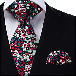 HISDERN Men's Cotton Floral Ties & Pocket Square Set Skinny Flower Neck Ties for men,Great for Wedding,Church,Gift