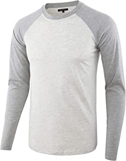 Men's Casual Lightweight Vintage Long Raglan Sleeve Baseball T-Shirt