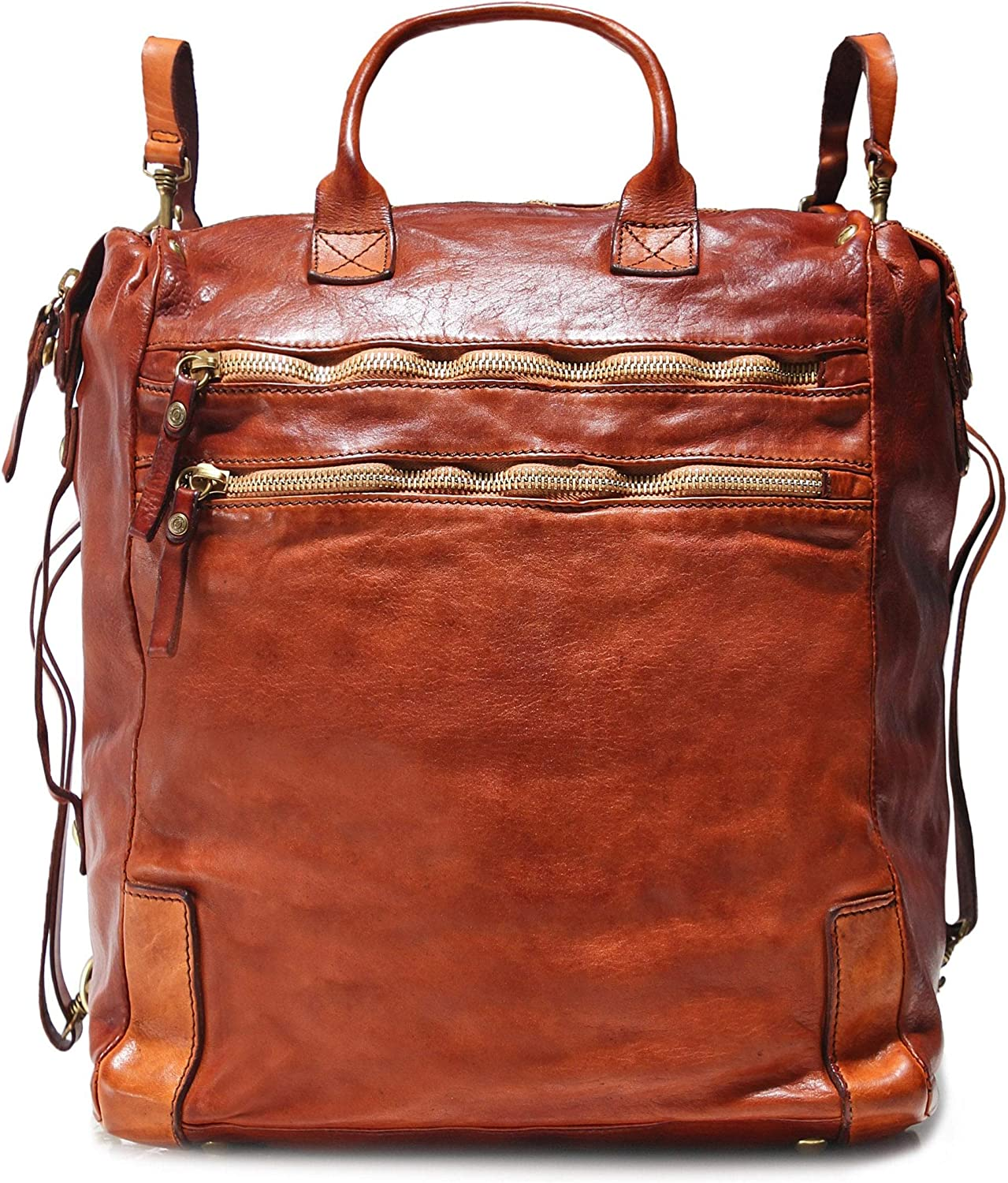 Campomaggi Men's Leather Shopper Backpack One Size Cognac