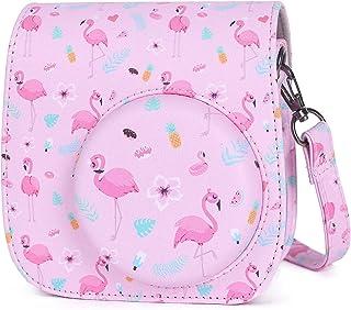 Phetium Cámara Funda Compatible con Instax Mini 9 / Mini 8 8+ Cámara Instantánea Bolsa de Transporte Fabricada en Cuero Dispone de Una Correa de Proteger y Bolsillo (Rosa Flamingo)