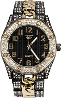 Bling-ed Out Men's 40mm Dial CZ Gold Watch with Iced Out Bezel   Japan Movement   Simulated Lab Diamonds - Black