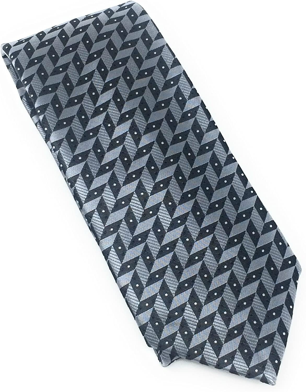 Charcoal Abstract 100% Silk Woven Necktie Set with Pocket Square