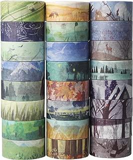 UOOOM 24 Rolls Washi Tape Set - Spring Summer Autumn Winter Theme Masking Sticker Tape Adhesive for DIY Decoration Scrapbooking Craft Gift