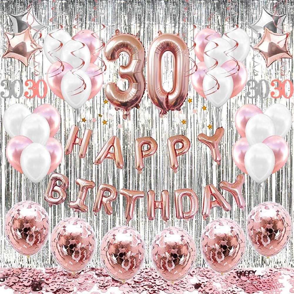 5 30th Birthday Balloons 30th Birthday Decorations Rose Gold Birthday Party Rose Gold Confetti Balloons Hello 30 Birthday Decorations