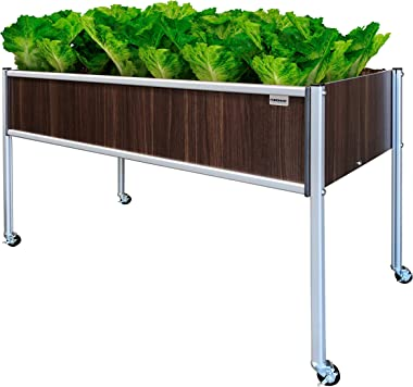 "Foreman Garden Bed Planter Box Kit 48""Lx24""Wx32""H Premium HPL Plastic Wood Grain (Tosca) Anodized Aluminum Outdoor Indoor with Lockable Caster Wheels Made in The USA"