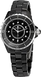 Women's H1625 J12 Diamond Black Dial Watch
