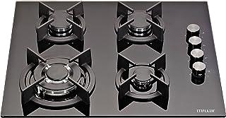 Millar GH6041XEB Plaque de cuisson en Verre trempé avec 4 brûleurs à gaz Noir 60 cm/Table de Cuisson