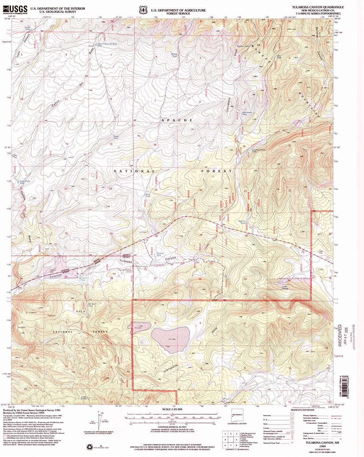 Tulapink Canyon NM topo map, 1 24000 Scale, 7.5 X 7.5 Minute, Historical, 1999, Updated 2002, 26.9 x 22 in
