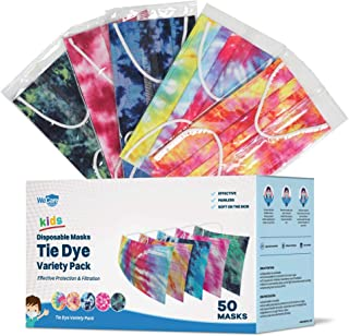 WeCare Disposable Face Mask Individually Wrapped - 50 Pack, Variety and Tie Dye Masks