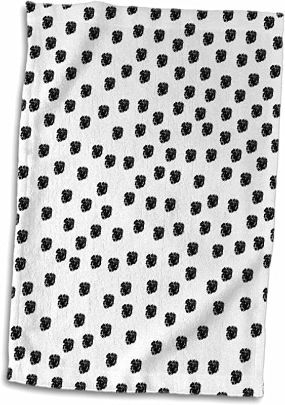 3D Rose Dalmation Spots Dogs Animal Print Black And White Hand Sports Towel 15 X 22