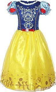 Girls Puff Sleeve Fancy Dress Princess Snow White Costume