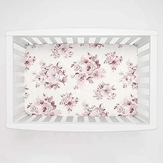 Carousel Designs Rose Farmhouse Floral Mini Crib Sheet 5-Inch-6-Inch Depth - Organic 100% Cotton Fitted Mini Crib Sheet - Made in The USA