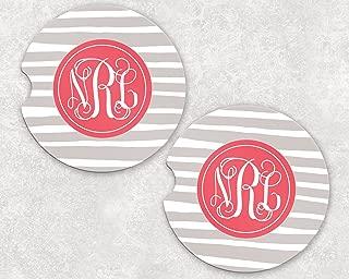 Monogrammed Car Coasters - Absorbent Sandstone - Taupe Stripes (SET of 2)