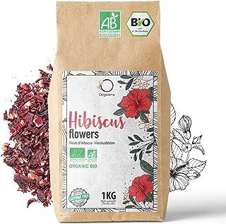 ORIGEENS HIBISCUS BIO 1kg Grade Supérieur | Fleur Hibiscus pour Bissap, Thé glacé, Infusion et Tisane | Infusion Detox Dra...