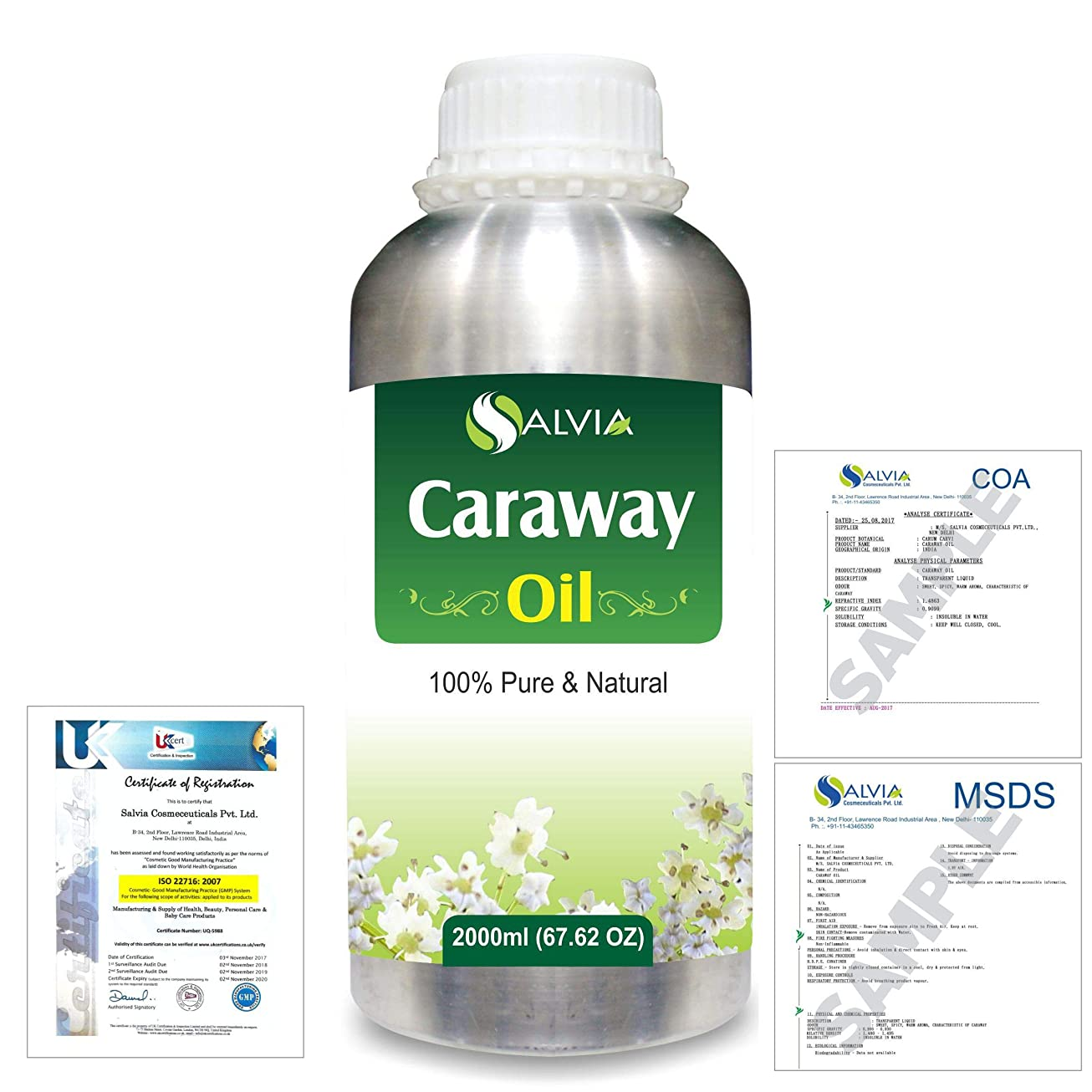 セッション協力するサーキットに行くCaraway (Carum carvi) 100% Natural Pure Essential Oil 2000ml/67 fl.oz.
