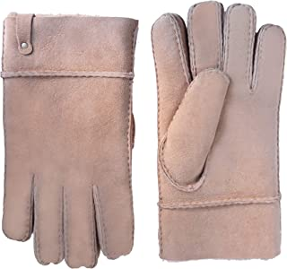 YISEVEN Men's Merino Rugged Lambskin Shearling Leather Gloves Flip Cuff