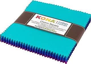 Kona Cotton Solids Peacock Charm Square 42 5-inch Squares Charm Pack Robert Kaufman CHS-720-42