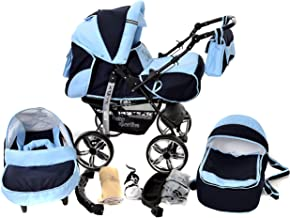 Kamil, Classic 3-in-1 Travel System with 4 STATIC (FIXED) WHEELS incl. Baby Pram, Car Seat, Pushchair & Accessories (3-in-1 Travel System, Navy-Blue & Blue)