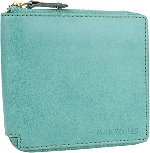 Leather Zipper Wallet Purse For Women And Girls Cyan