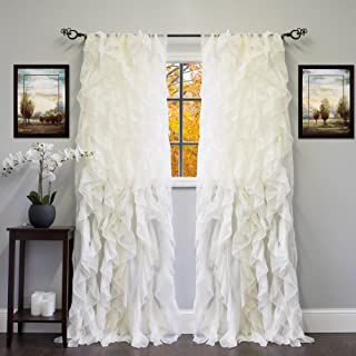 """Sweet Home Collection Sheer Voile Vertical Ruffled Window Curtain Panel 50"""" x.."""