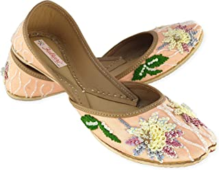 Fulkari Women's Clarkia Genuine Soft Leather Jutis | Bite and Pinch Free Jutis | Punjabi Formal Jutti Flat Ladies Mojari | Bridal Ethnic Flats |
