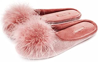 BCTEX COLL Lady's Cozy Velvet Slippers with Fluffy Pom Pom Feather, House Bedroom Shoes with Memory Foam Flat Slide, and Non-Slip Rubber Sole