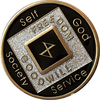 10 Year Black and Silver Glitter NA Medallion Official Narcotics Anonymous Chip
