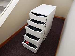 Polar Whale Drawer Organizers Compatible with IKEA Alex Tray Waterproof 5 Piece Complete Insert Set Office Home Dorm Made in USA 11.5 X 14.5 Inches Spacious Compartments Black Extra Deep Pockets