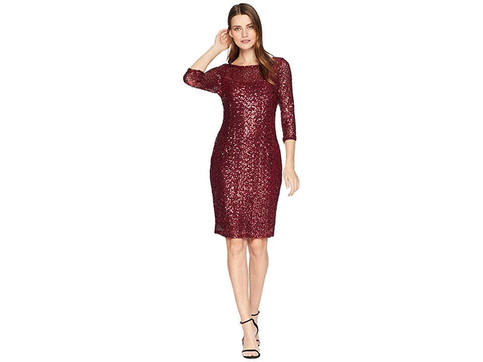 MARINA Short Slim Sequin Dress with 3/4 Sleeves and V-Back (Ruby) Women