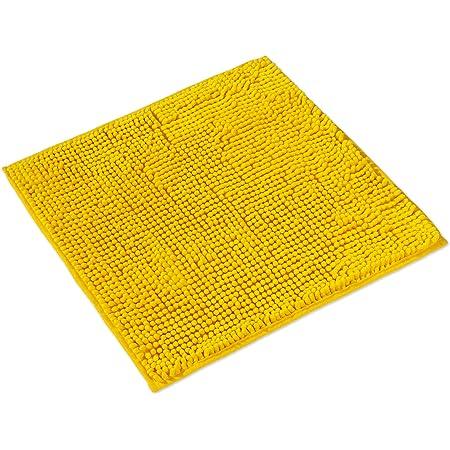 WohnDirect Tapis de Bain Jaune • Sets modulables • Antidérapant, Absorbant et Doux• sans découpe WC, 45x45cm
