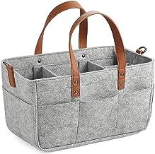 TOOGOO Baby Diaper Caddy Organizer Portable Holder Shower Basket Portable Nursery Storage Bin Car Storage Basket for Wipes Toys Tote Bag Light Grey