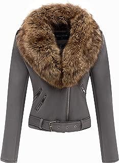 Bellivera Women's Faux Suede Short Jacket, Moto Jacket with Detachable Faux Fur Collar