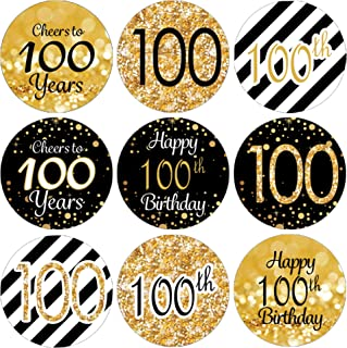 DISTINCTIVS Black and Gold 100th Birthday Party Favor Stickers - 180 Labels