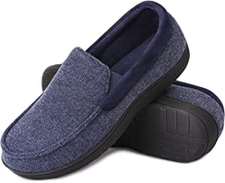 LongBay Men's Memory Foam Moccasin Slippers Plush Fleece House Slipper in Indoor Outdoor Shoes