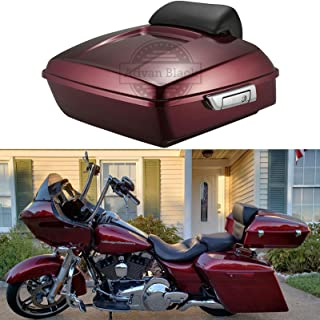 Moto Onfire Us Stock Velocity Red Sunglo Chopped Tour Pack Backrest Pad Trunk Pack Fit for Harley Touring Street Glide Road King Road Glide Electra Glide Ultra Classic 2014 2015 2016 2017 2018 2019