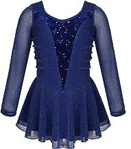 Freebily Body Pattinaggio Artistico Bambina Maniche Lunghe Azzurro con Strass Fiori di Nevi Leotards Ginnastica Artistica Ballerina Vestito Danza Classica Balletto
