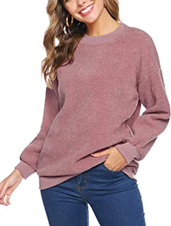 iClosam SuéTer Mujer OtoñO Invierno Manga Larga Elegant Calentito Cuello Redondo Sudadera Pullover Sweatershirt Tops