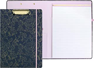 Clipboard Folio with Refillable Writing Pad and Interior Storage Pocket, Cute Gold Navy Floral