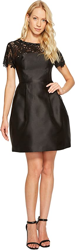 Solid Party Dress with Neck Trim JS7A9450