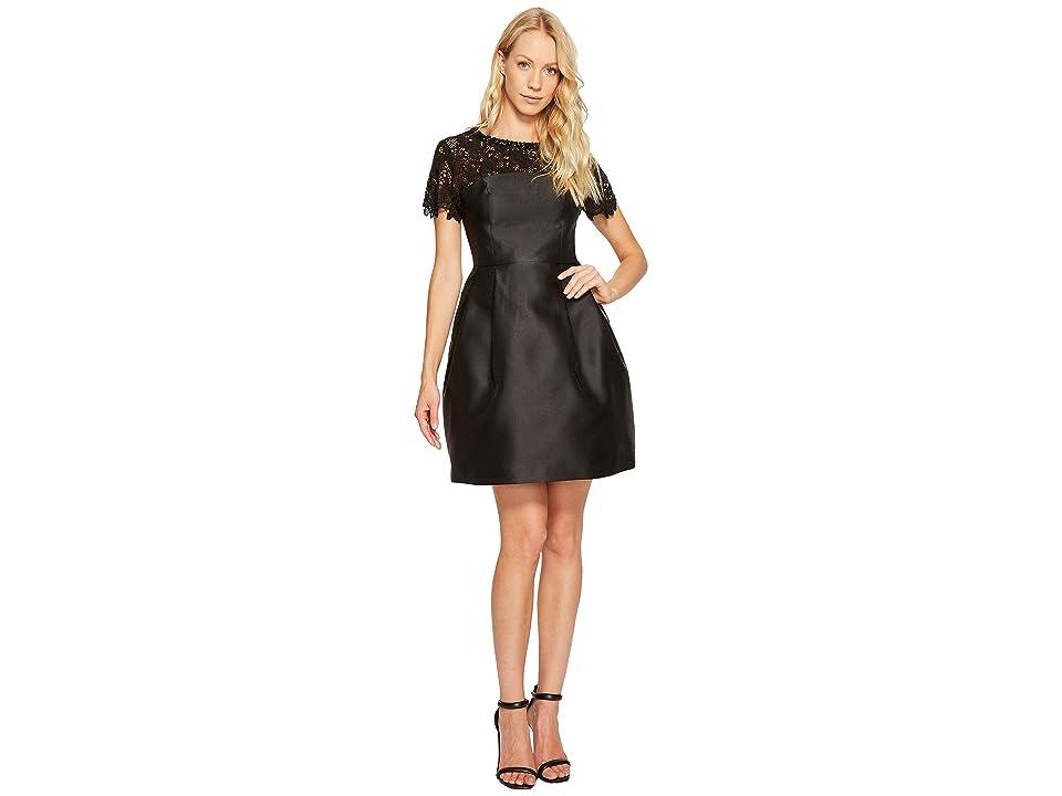 Jessica Simpson Solid Party Dress with Neck Trim JS7A9450 (Black) Women