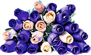 24 Realistic Wooden Roses Flowers - Purples & Cream