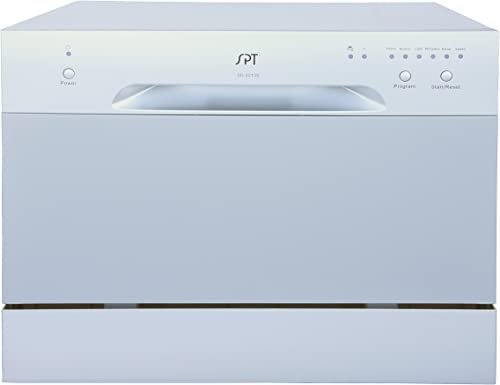 SPT SD-2213S ENERGY STAR Compact Countertop Dishwasher - Portable Dishwasher with Stainless Steel Interior and 6 Plac...