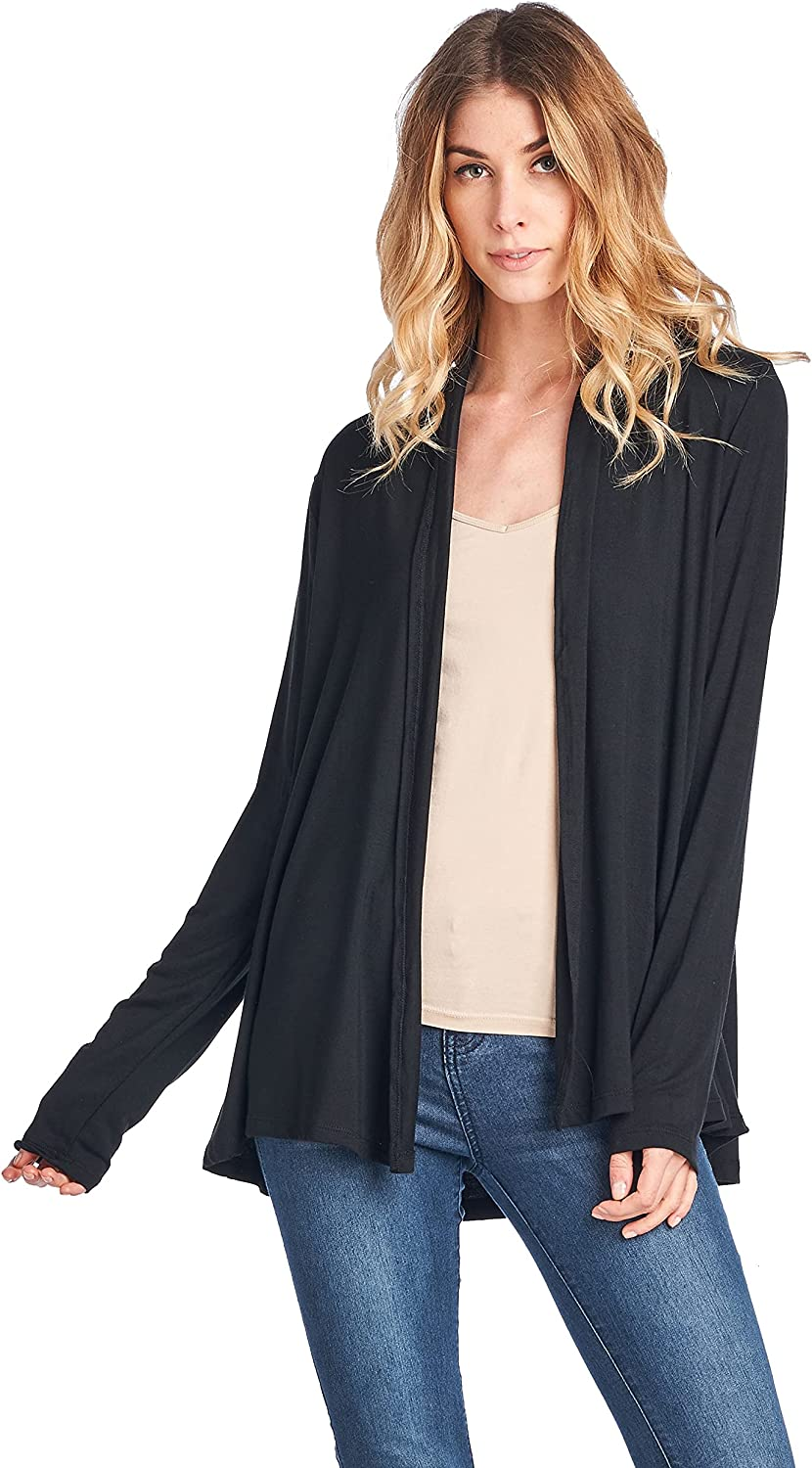 Women Casual Open Front Long Sleeve Lightweight Softest Bamboo Cardigan - Made in USA