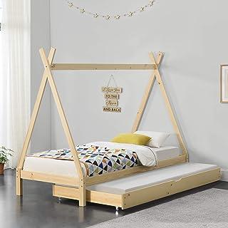 Lit de Tipi pour Enfant avec 2 Couchage Lit d'Appoint en Bois Naturel Pin avec Sommier à Lattes Couleur Bois 206 x 96 x 16...